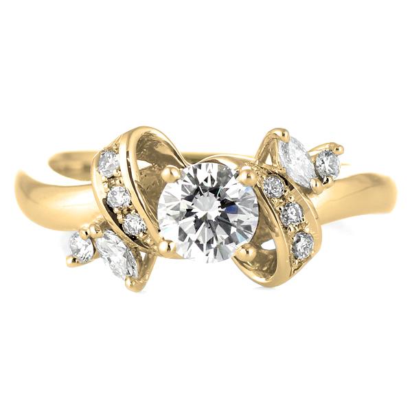 婚約指輪 ダイヤモンド ダイヤ リング エンゲージリング K18イエローゴールドVSクラス 0.20ct 鑑定書付【DEAL】