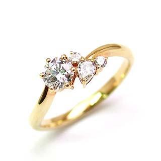 婚約指輪 ダイヤモンド ダイヤ リング エンゲージリング K18イエローゴールドVVS1クラス 0.20ct 鑑定書付 【DEAL】