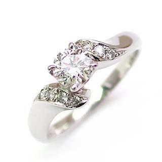 婚約指輪 ダイヤモンド ダイヤ リング エンゲージリング K18ホワイトゴールド SIクラス 0.30ct 鑑定書付 【DEAL】