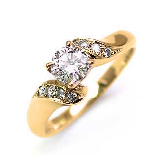 婚約指輪 ダイヤモンド ダイヤ リング エンゲージリング K18イエローゴールドVSクラス 0.30ct 鑑定書付 【DEAL】