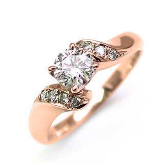 婚約指輪 ダイヤモンド ダイヤ リング エンゲージリング K18ピンクゴールド SIクラス 0.20ct 鑑定書付【DEAL】