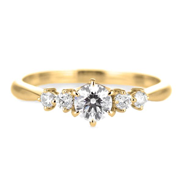 婚約指輪 ダイヤモンド ダイヤ リング エンゲージリング K18イエローゴールドVVS1クラス 0.30ct 鑑定書付 【DEAL】