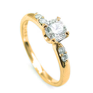 婚約指輪 ダイヤモンド ダイヤ リング エンゲージリング K18イエローゴールド SIクラス 0.30ct 鑑定書付 【DEAL】