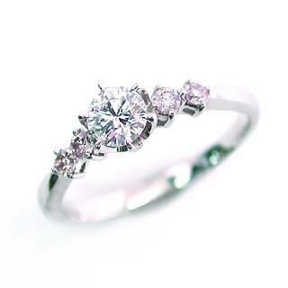 婚約指輪 エンゲージリング ホワイトゴールド ピンクダイヤモンド ダイヤ リング SIクラス0.20ct 鑑定書付 【DEAL】