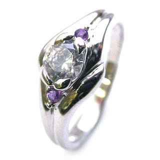 ( 婚約指輪 ) ダイヤモンド エンゲージリング( 2月誕生石 ) アメジスト 末広 スーパーSALE【今だけ代引手数料無料】
