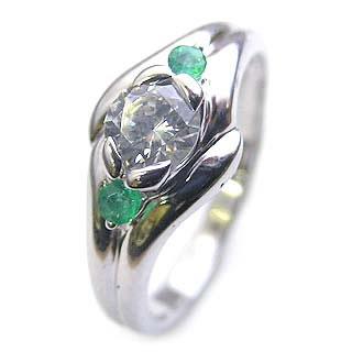 エンゲージリング 婚約指輪 ダイヤモンド ダイヤ プラチナ リング エメラルド 0.33ct