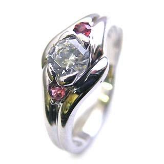 ( 婚約指輪 ) ダイヤモンド エンゲージリング( 1月誕生石 ) ガーネット