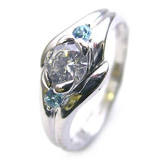 ( 婚約指輪 ) ダイヤモンド エンゲージリング( 11月誕生石 ) ブルートパーズ