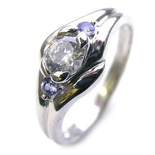 ( 婚約指輪 ) ダイヤモンド エンゲージリング( 12月誕生石 ) タンザナイト