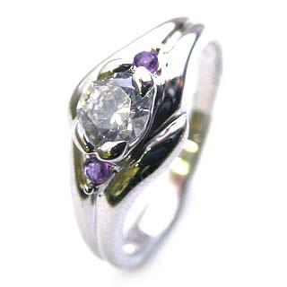 ( 婚約指輪 ) ダイヤモンド エンゲージリング( 2月誕生石 ) アメジスト