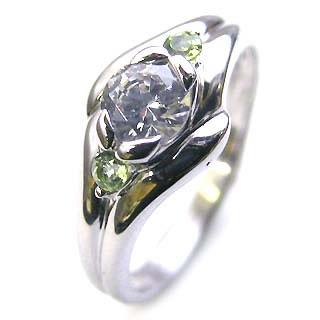 ( 婚約指輪 ) ダイヤモンド エンゲージリング( 8月誕生石 ) ペリドット 末広 スーパーSALE【今だけ代引手数料無料】