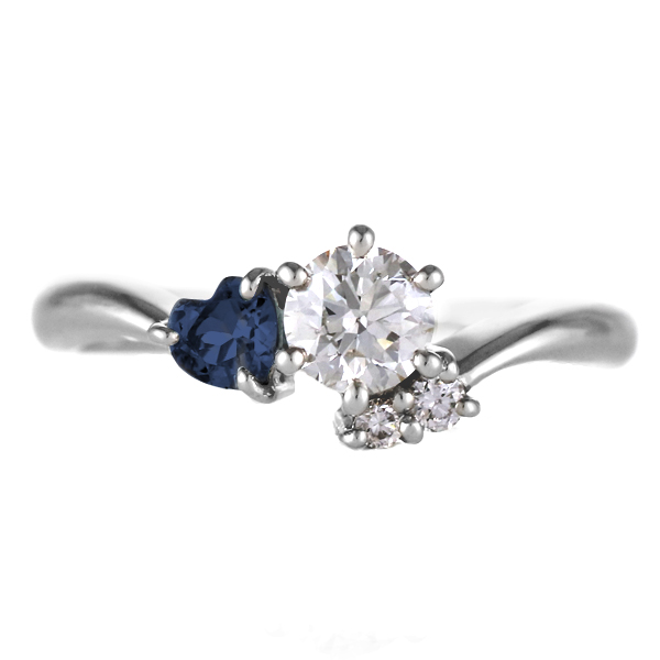 CanCam掲載( 婚約指輪 ) ダイヤモンド エンゲージリング( 9月誕生石 ) サファイア【DEAL】