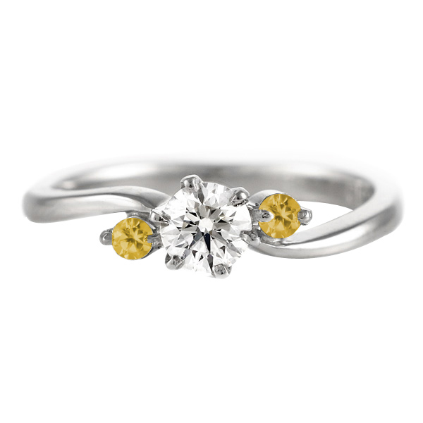 CanCam掲載( 婚約指輪 ) ダイヤモンド エンゲージリング( 11月誕生石 ) シトリン【DEAL】