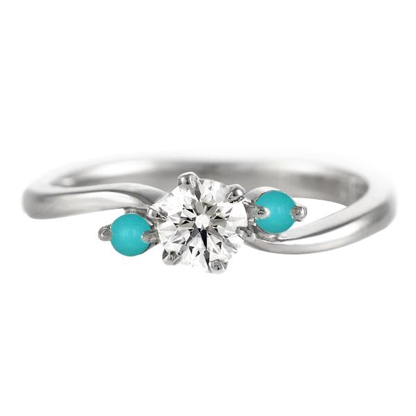 CanCam掲載( 婚約指輪 ) ダイヤモンド エンゲージリング( 12月誕生石 ) ターコイズ 末広 スーパーSALE【今だけ代引手数料無料】