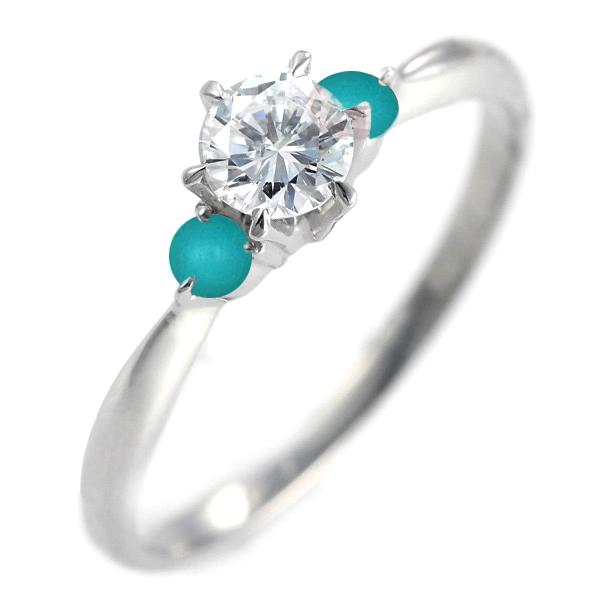 ( 婚約指輪 ) ダイヤモンド エンゲージリング( 12月誕生石 ) ターコイズ