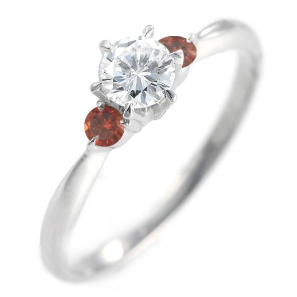 ( 婚約指輪 ) ダイヤモンド エンゲージリング( 1月誕生石 ) ガーネット【DEAL】 末広 スーパーSALE