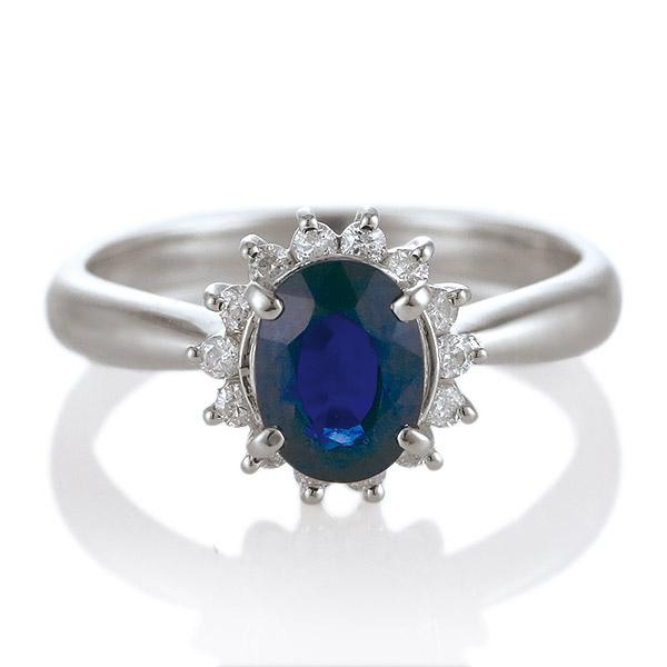 サファイア ダイヤモンド プラチナ リング 婚約指輪 エンゲージリング 9月 誕生石 大粒 【DEAL】