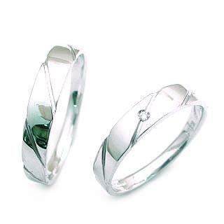 ( K18WG )ダイヤモンドペアリング 末広 スーパーSALE