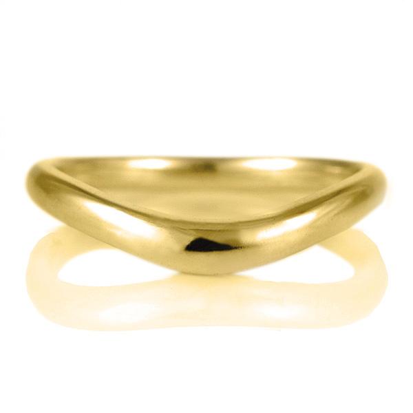 18金 結婚指輪 デザイン V字