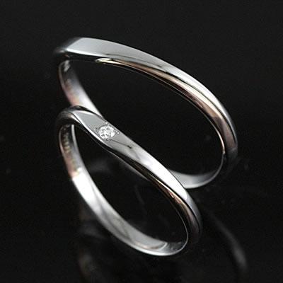 メンズリング プラチナ Pt K14ピンクゴールド ( Brand Jewelry TwinsCupid ) プラチナ900ダイヤモンドペアリング(パールシャワー)【DEAL】 末広 スーパーSALE