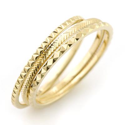 重ね着け 指輪 イエロー ゴールドリング