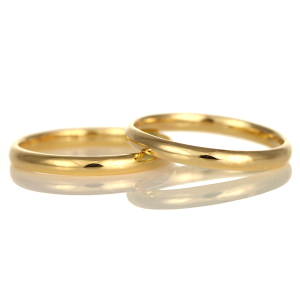 結婚指輪 マリッジリング K18イエローゴールド 18金 甲丸 2本セット
