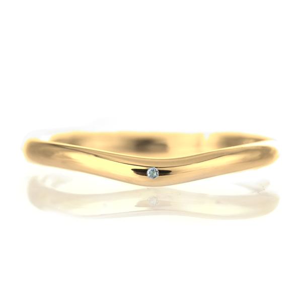 結婚指輪 マリッジリング 18金 ゴールド 甲丸 V字 天然石 アクアマリン 末広 スーパーSALE【今だけ代引手数料無料】