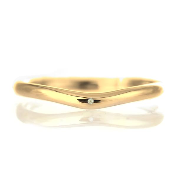 結婚指輪 マリッジリング 18金 ゴールド 甲丸 V字 天然石 ペリドット 末広 スーパーSALE【今だけ代引手数料無料】