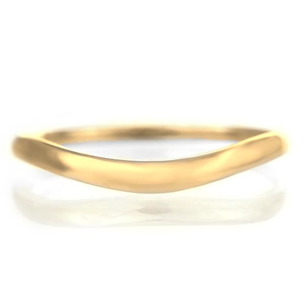 結婚指輪 マリッジリング 18金 ゴールド つや消し マット 甲丸 V字 レディース