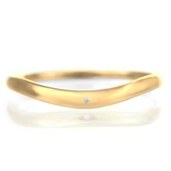 結婚指輪 マリッジリング 18金 ゴールド つや消し マット 甲丸 V字 天然石 ムーンストーン 末広 スーパーSALE