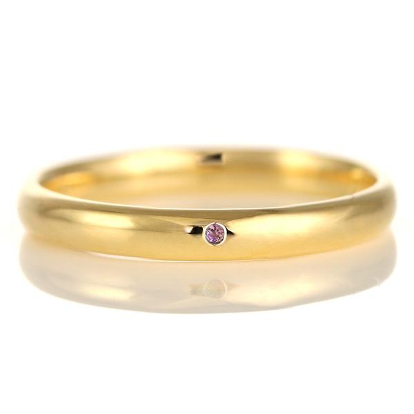 結婚指輪 マリッジリング 18金 ゴールド 甲丸 天然石 アメジスト