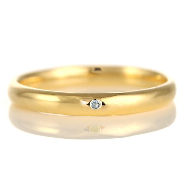 結婚指輪 マリッジリング 18金 ゴールド 甲丸 天然石 アクアマリン