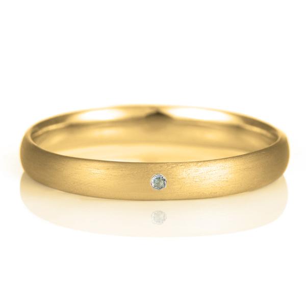 結婚指輪 マリッジリング 18金 ゴールド つや消し マット 甲丸 天然石 アクアマリン