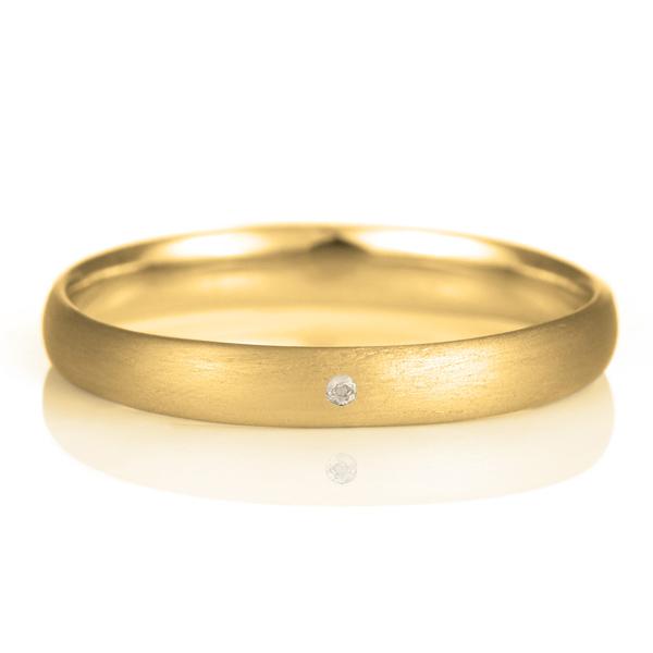 結婚指輪 マリッジリング 18金 ゴールド つや消し マット 甲丸 天然石 ムーンストーン