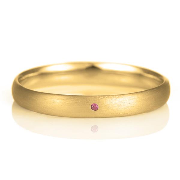 結婚指輪 マリッジリング 18金 ゴールド つや消し マット 甲丸 天然石 ルビー