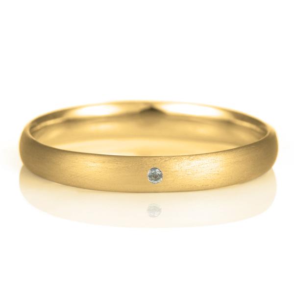 結婚指輪 マリッジリング 18金 ゴールド つや消し マット 甲丸 天然石 ブルートパーズ
