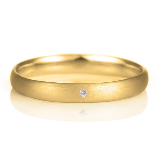 結婚指輪 マリッジリング 18金 ゴールド つや消し マット 甲丸 天然石 タンザナイト