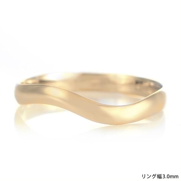 結婚指輪 マリッジリング 18金 ゴールド つや消し マット 甲丸 ウエーブ レディース