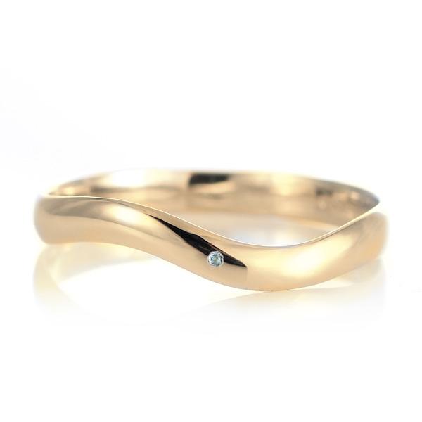 結婚指輪 マリッジリング 18金 ゴールド 甲丸 ウエーブ 天然石 アクアマリン