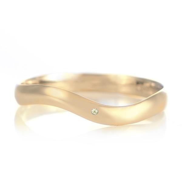 結婚指輪 マリッジリング 18金 ゴールド つや消し マット 甲丸 ウエーブ 天然石 ペリドット 末広 スーパーSALE【今だけ代引手数料無料】
