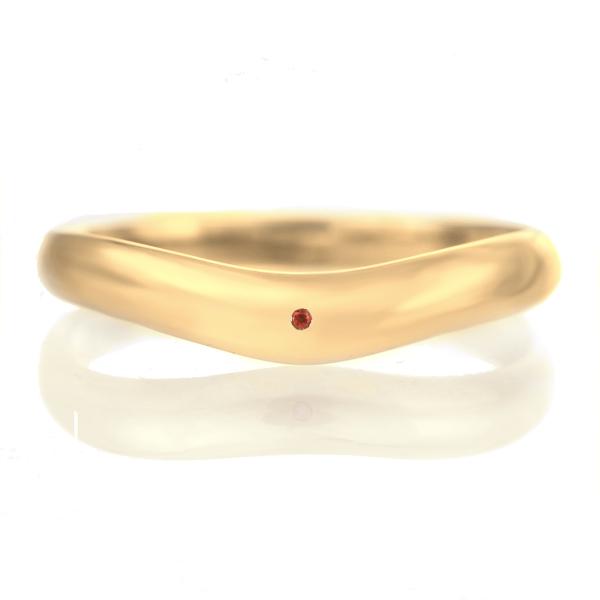 結婚指輪 マリッジリング 18金 ゴールド つや消し マット 甲丸 V字 天然石 ガーネット