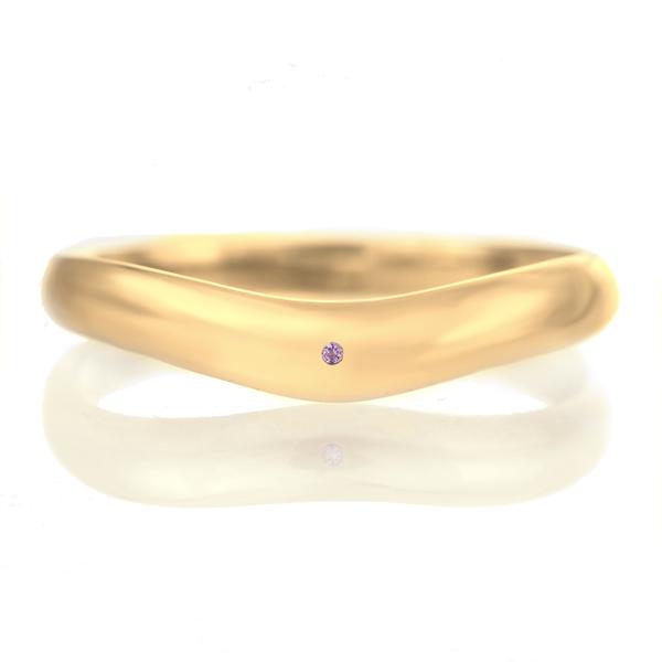 結婚指輪 マリッジリング 18金 ゴールド つや消し マット 甲丸 V字 天然石 アメジスト