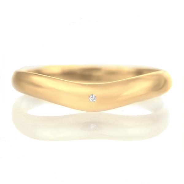 ペアリング 18金 ゴールド 甲丸 V字 天然石 ダイヤモンド