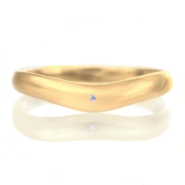結婚指輪 マリッジリング 18金 ゴールド つや消し マット 甲丸 V字 天然石 タンザナイト
