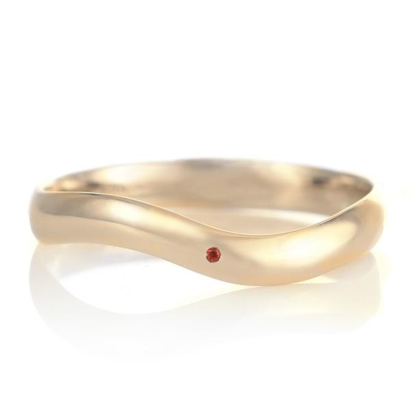 結婚指輪 マリッジリング 18金 ゴールド つや消し マット 甲丸 ウエーブ 天然石 ガーネット