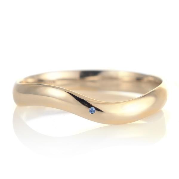 結婚指輪 マリッジリング 18金 ゴールド 甲丸 ウエーブ 天然石 サファイア 末広 スーパーSALE【今だけ代引手数料無料】