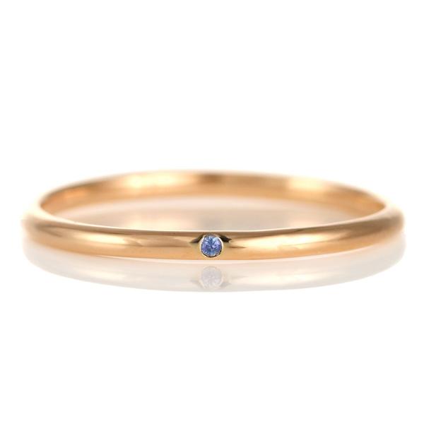 結婚指輪 マリッジリング 18金 ピンクゴールド 甲丸 天然石 サファイア 末広 スーパーSALE【今だけ代引手数料無料】