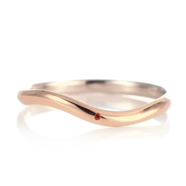 結婚指輪 マリッジリング 18金 ピンクゴールド 甲丸 ウエーブ 天然石 ガーネット 末広 スーパーSALE【今だけ代引手数料無料】