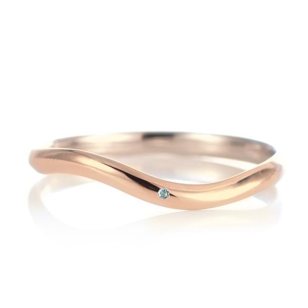 結婚指輪 マリッジリング 18金 ピンクゴールド 甲丸 ウエーブ 天然石 アクアマリン 末広 スーパーSALE【今だけ代引手数料無料】