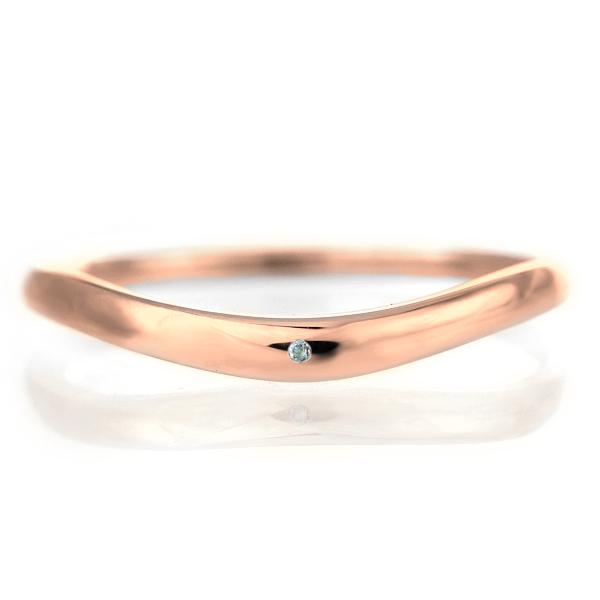 結婚指輪 マリッジリング 18金 ピンクゴールド 甲丸 V字 天然石 アクアマリン 末広 スーパーSALE【今だけ代引手数料無料】